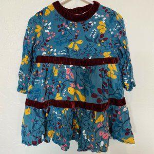Polarn O Pyret Girl Blue Floral Velvet Trim Dress